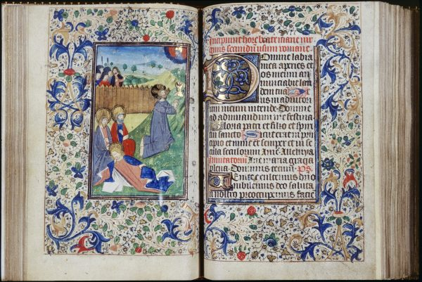 Attributed to Studio of unknown French (illuminator), Possibly Style of unknown Flemish (illuminator). c.1470 (creation date). Book of Hours (Horae Beatae Mariae Virginis in Usum Ecclesiae Romanae cum Calendario), Folio 39v: Hours of the Virgin: Matins: Agony in the Garden, overall, left, with Folio 40r at right.. Illumination, Leaf (component), Manuscript. Place: Trinity College, Watkinson Library (Hartford, Connecticut, USA).