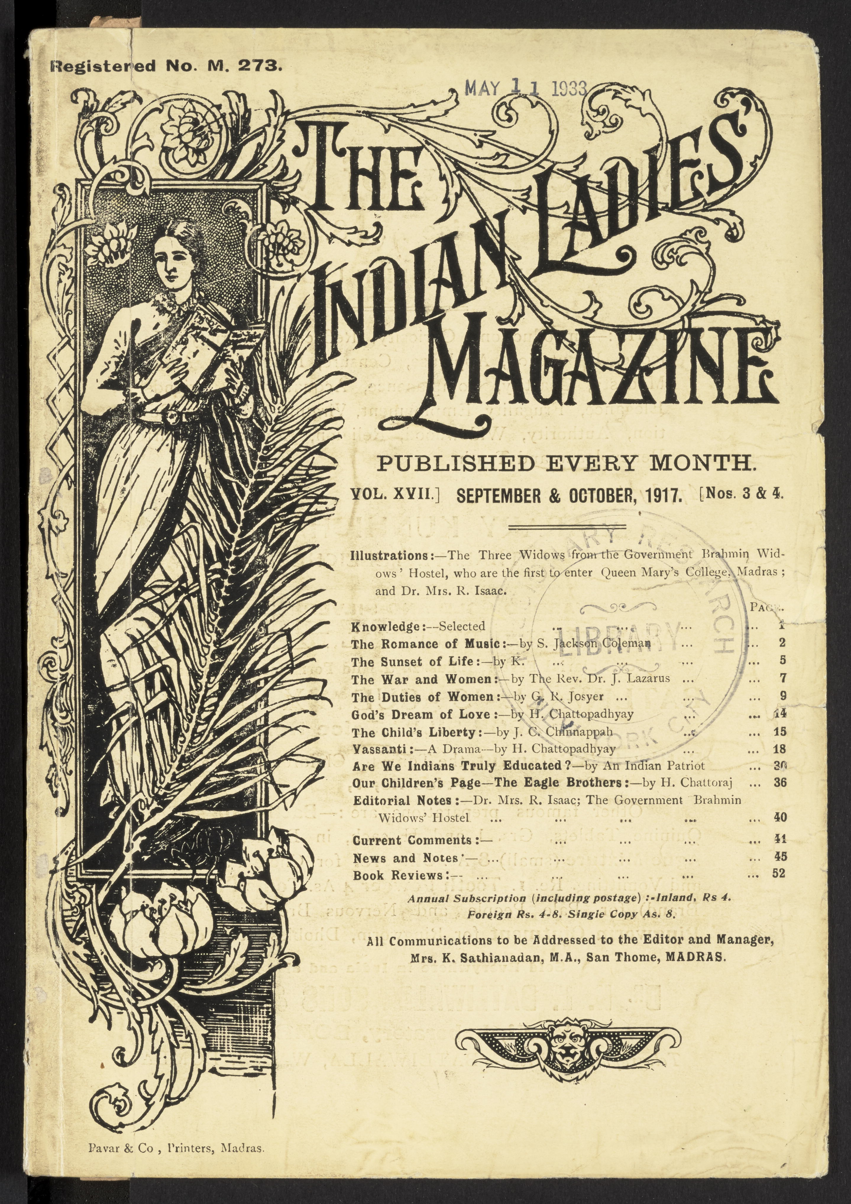 The Indian Ladies Magazine, September/October 1917