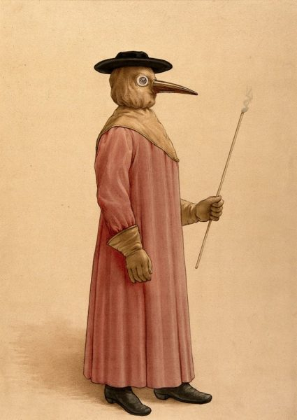 A physician wearing a 17th-century plague preventive.
