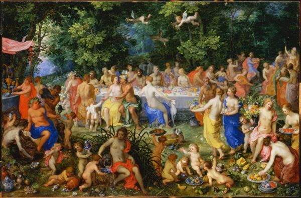 Hendrik van Balen I, Jan Brueghel II. Feast of the Gods. Late 16th-early 17th century. Oil on copper. Louvre Museum. Image and data provided by Réunion des Musées Nationaux / Art Resource, N.Y.