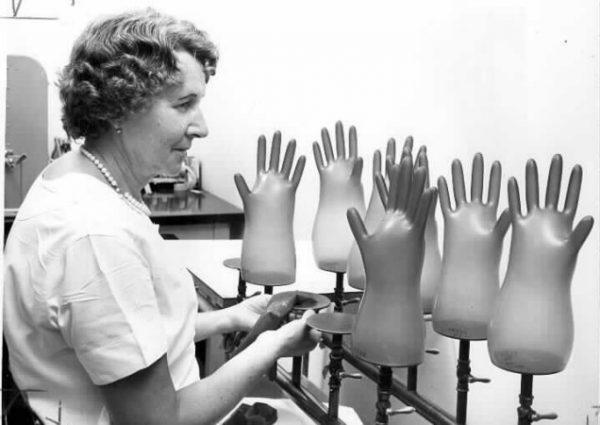 Central Sterile Supply. Inflating Rubber Gloves. October 1966