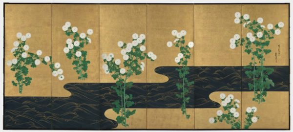 Ogata Korin, follower of. Chrysanthemums by a Stream. Late 1700s - early 1800s.