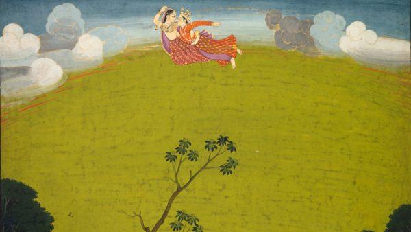 Pradyumna and Maya Fly to Dwarka: Leaf from the Large Basohli Bhagavata Purana, c. 1760-1765