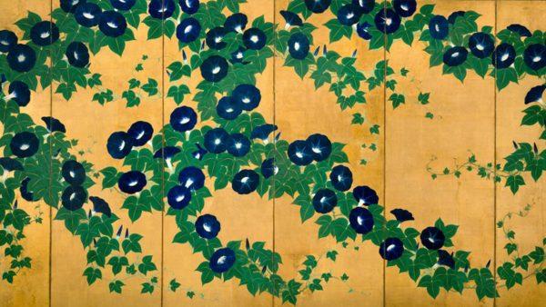 Suzuki Kiitsu. 朝顔図屏風 (Morning Glories)