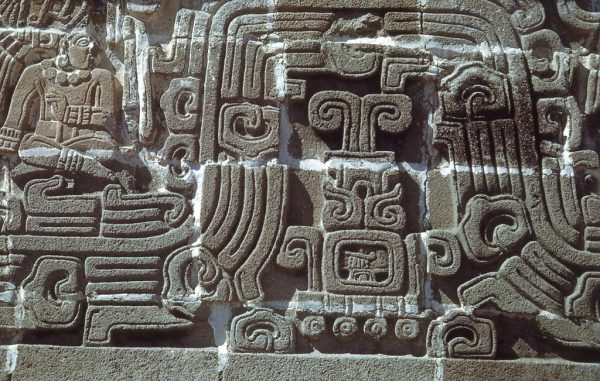 Xochicalco, base of pyramid, detail of human figure