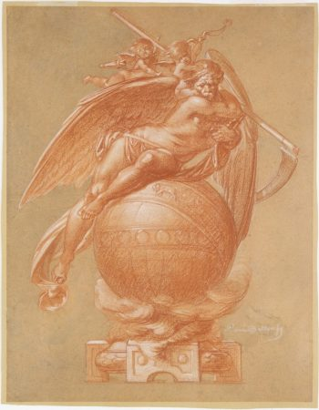 Albert-Ernest Carrier-Belleuse. Father Time on a Globe; design for a clock. 19th century