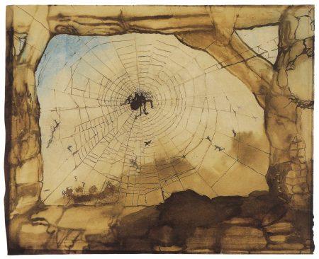 Victor Hugo. Vianden seen through a spider's web. 1871.