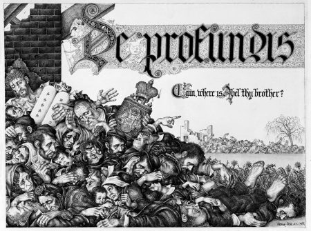 """Illustration of a pile of deceased or suffering figures appear below the words """"De Profundis"""" in calligraphic lettering."""