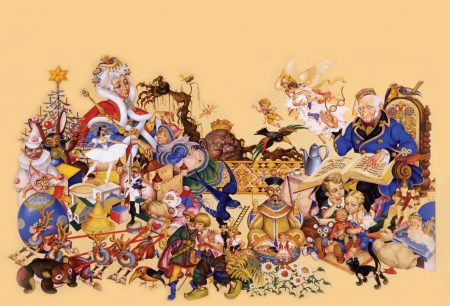Watercolor painting of an old man in a chair pointing to a book. He is surrounded by colorful figures, animals, and monsters.
