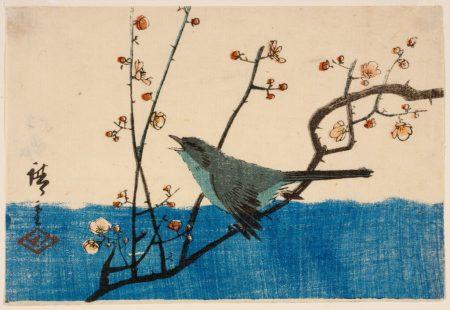 Woodblock print of bird
