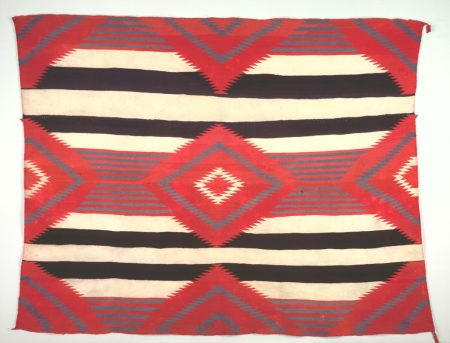Navajo, Post-Contact, Early Period. Rug (Third-phase Chief Blanket Style, Germantown Weaving). C. 1890-1910.