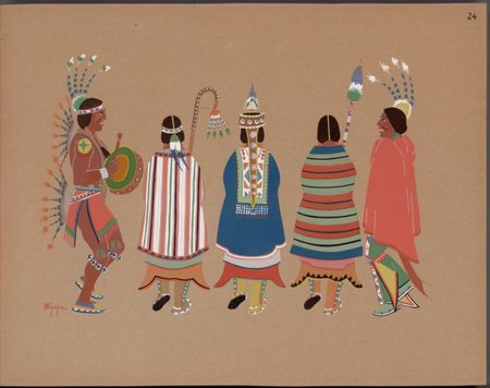 Stephen Mopope. Pochoir print of Stephen Mopope drawing of squaw dance. 1929.